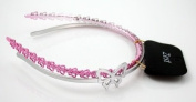 2 Girls Butterfly Alice Bands 5mm Wide Pink & Silver Hair Accessories by Zest