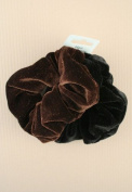 Card of 2 Velvet Scrunchies. Black and a colour- Brown,Burgundy,Gre...