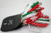 Christmas 20 Red Green Silver & White Hair Bands Hair Elastics By Zest