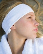Luxury Make Up Artists Soft Towelling White hook and loop Fixing Headband - WHITE