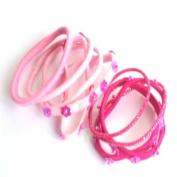 10 Pink Sequin Flower Hair Bands/Elastics IN8800