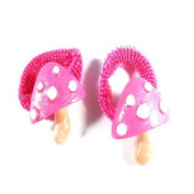 2 Girls Hot Pink Mushroom Hair Ponios IN4247