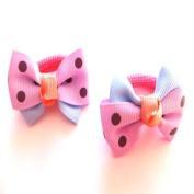 2 Girls Lilac Bow Colour Block Hair Ponios IN9452