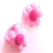 2 Girls Pink Daisy Hair Ponios/Bands IN4241