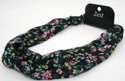Navy Blue Ditsy Floral Print Chiffon Fabric Headband Hair Accessories By Zest