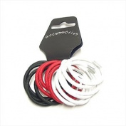 14 Red Black White Tone Thick Hair Bands/Elastics AJ6071