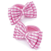2 Girls Pink Gingham Bow Hair Ponios/Bands AJ25796