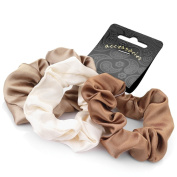 3 Brown Cream Beige Satin Hair Scrunchies AJ26657