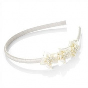 Girls Cream Satin Flower & Faux Pearl Headband/ Alice Band/ Hairband - Bridesmaids/ Flower Girls/ Holy Communion