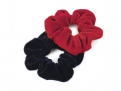 2 Red & Navy Velvet Hair Scrunchies AJ25635