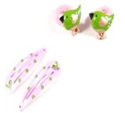 4 Girls Light Pink Bird Ponios & Hair Slides Set LP2736