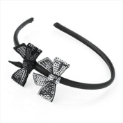 Black & Silver Sequin Bow Alice Band AJ24955