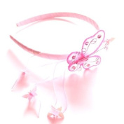 Girls Pink Mesh Butterfly Alice Band IN9492