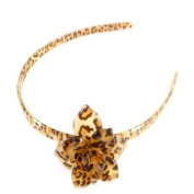 Brown Leopard Print Plastic Flower Alice Band IN9594