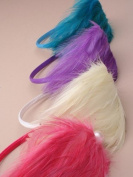 Aliceband - Large colourful feather plume with pearl headband alice band