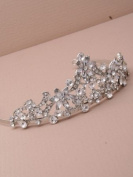 9322 Rhodium Plate Vintage Flower Crystal Tiara Wedding Bride Bridal Headband Headband