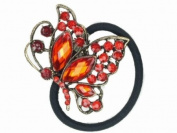 Glitz4Girlz Red Crystal Flying Butterfly Ponytailer