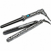 Yogi Gift Pack Floral Hair Straightener and Wand Set Black/ Silver