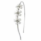 Flower pearl hairband with diamante centres, adjustable in size