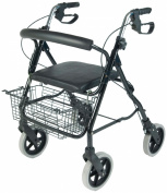 NRS Aluminium Four Wheeled Rollator Walking Aid With Seat & Shopping Basket