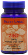 Higher Nature Zinc 20mg with Copper Pack of 90