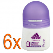 6 x Adidas deodorant Roll-On 50ml Action3 PURE for women, with feminine smell, protection up to 24std., BO, for normal to sensitive skin fights