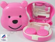 Pink Pooh Bear Contact Lens Soaking Case Travel Kit H1