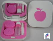 Pink Apple Design Contact Lens Travel Kit With Mirror