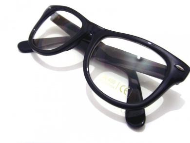 Black Frame and Clear Lens Wayfarer Style Fashion Glasses Gloss Finish
