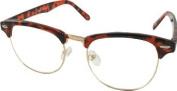 Clubmaster Retro Vintage Geek Style Glasses Clear Lenses- Tortoiseshell