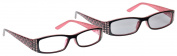 UV Reader Pink Black Reading Glasses With Matching Sun Reader Value Twin Pack UV400 Designer Style Womens Ladies Inc Case UVRPK001 Strength +1.00