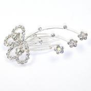Twin Heart Design Crystal/ Diamante Tiara Comb/ Hair Comb - Wedding/ Bridal/ Proms -