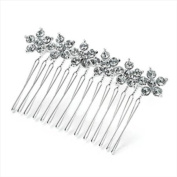 Silver Flower Crystal Hair Comb AJ25804