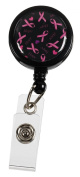 Retractable Badge Holder Cord Extends To 60cm In Pink Ribbon Black