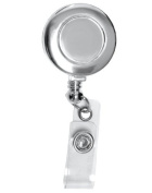 Retractable Badge Holder Cord Extends To 60cm In Silver