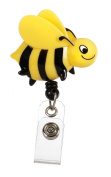 Deluxe Animal Retractable Badge Holder Cord Extends To 60cm Bee Design