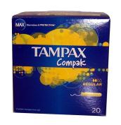 Tampax Compak Regular Absorbency 20 Retractable Applicator Tampons