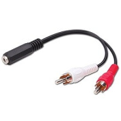 """Vanco International 110422 3.5 mm Stereo Jack to 2-RCA Male Plugs """"Y"""" Adapter, 6 Inch"""