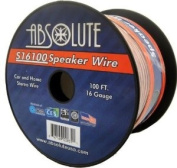 Absolute S16100 30m 16 Gauge Car and Home Stereo Clear Speaker Wire