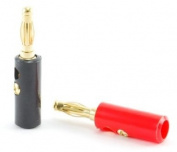 Screw Type Banana Plugs, Red/Black
