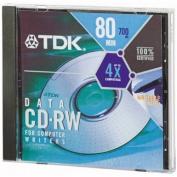 TDK CD-RW Media 4x 80min 700MB Rewriteable In Standard Jewel Cases