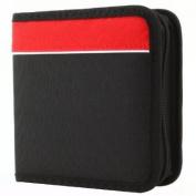 24 Capacity Cd Holder Case in Black / Red, Nylon, Cd Wallet, for Cd, Dvd, Blu-ray Media Storage