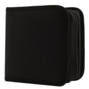 Great for Dj and Video House. Cd Wallet, 24 Capacity Cd Holder Case Square Zipper in Black Colour for Cd DVD Storage, Made with Nylon Material.
