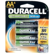 Duracell AA NiMH rechargeable blister pack, 4 per pkg. 2450mAh