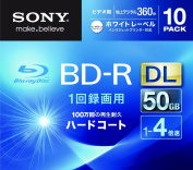 Sony Blu-ray Disc 10 Pack - 50GB 4X BD-R DL White Inkjet Printable for VIDEO - 2012