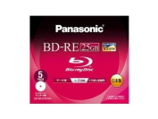 PANASONIC Blu-ray BD-RE Rewritable Disc for PC Data | 25GB 2x Speed | 5 Pack