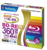Verbatim Mitsubishi 50GB 2x Speed BD-RE Blu-ray Re-Writable Disc 5 Pack - Ink-jet printable - Each disc in a jewel case