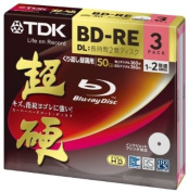 TDK Blu-ray BD-RE DL (Dual Layer) Re-writable Disc 50GB 2x Speed 3 Pack | Blu-ray Disc Rewritable Format Ver. 2.1