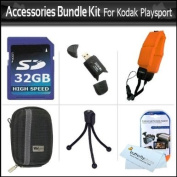32GB Accessories Bundle Kit For Kodak PlaySport (Zx5) HD Waterproof Pocket Video Camera (2nd Generation) NEWEST MODEL Includes 32GB High Speed SD Memory Card + Hard Case + USB Card Reader + Float Strap + Screen Protectors + Mini Tripod + MicroFiber Cloth