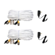 VideoSecu 2 of 50 Feet Security Camera Video Power Extension Cables with 2 of 12V DC 500mA Power Supplies for CCTV DVR Home Surveillance System CGN